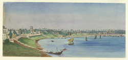 View of the French settlement of Chandernagore (Bengal).28 October 1868